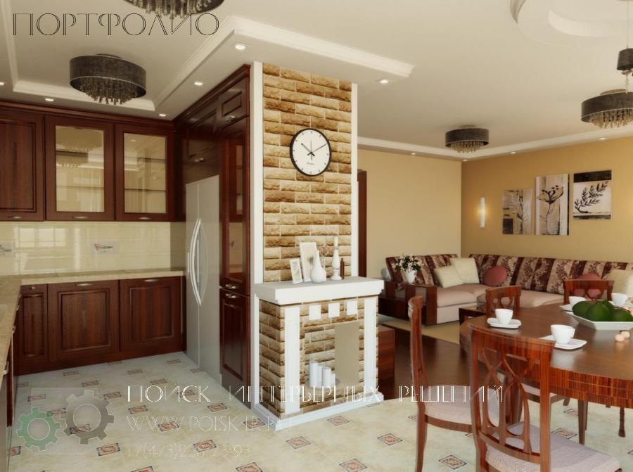 Дизайн кухни со стенами под кирпич