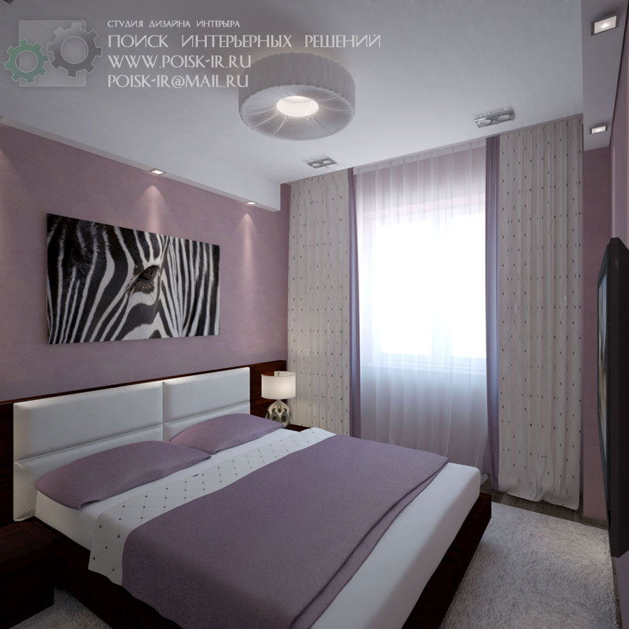 Дизайн интерьер спальни с лоджией