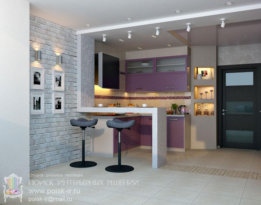 Кухня студия с барной стойкой дизайн фото 70