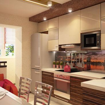 кухни дизайн интерьера с балконом