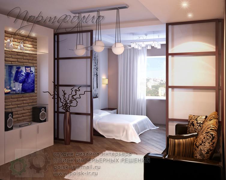 Дизайн спальня-гостиная 20 метров