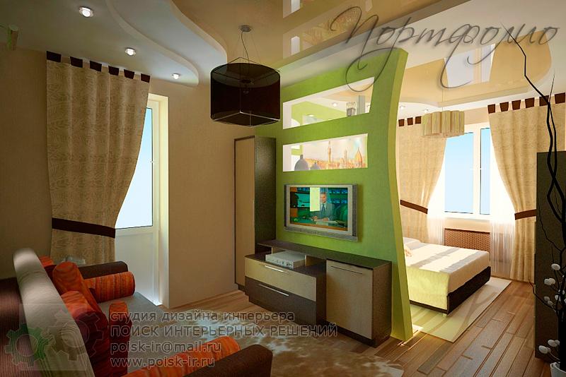 Спальня гостиная с перегородкой фото