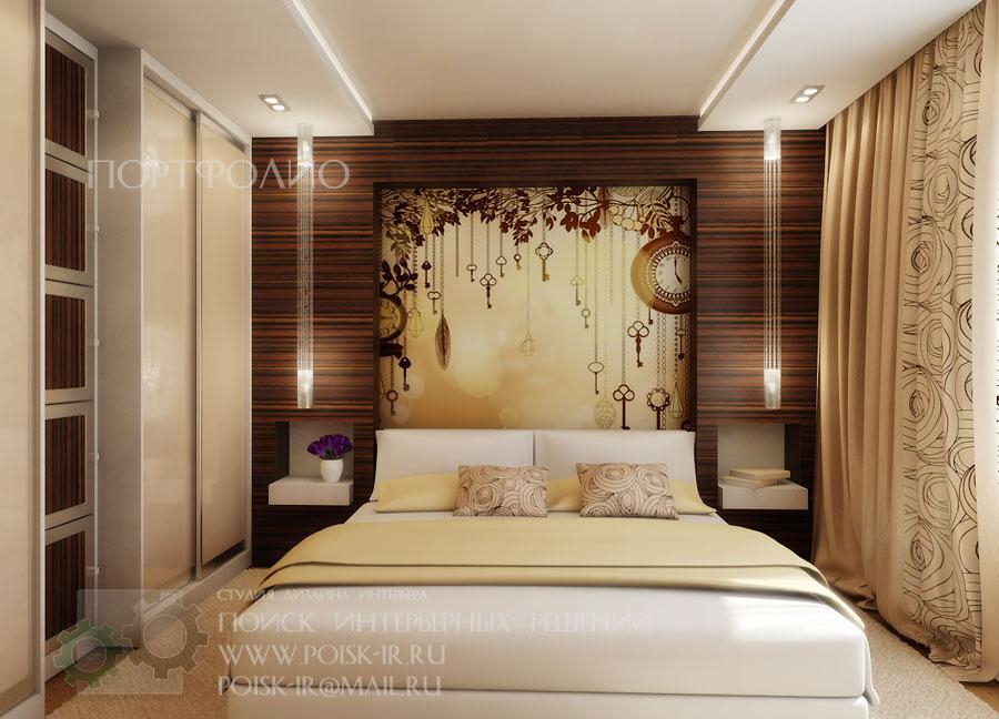 Спальня с шкафам у изголовья дизайн