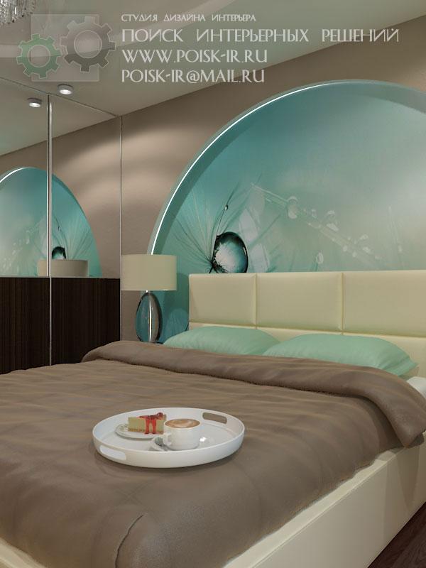 Дизайн интерьера спальни с фотообоми